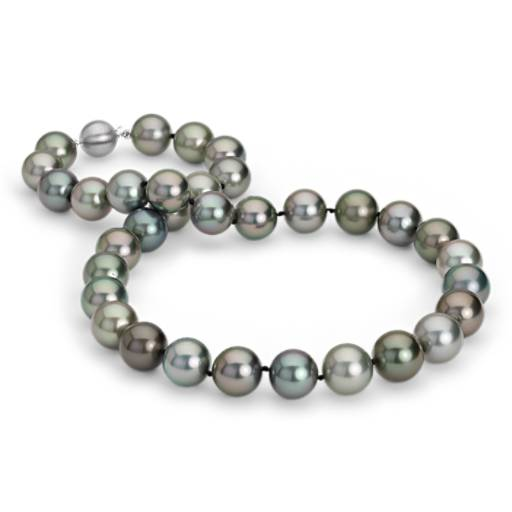 Multi-Colour Tahitian Cultured Pearl Necklace in 18k White Gold (12-13mm)