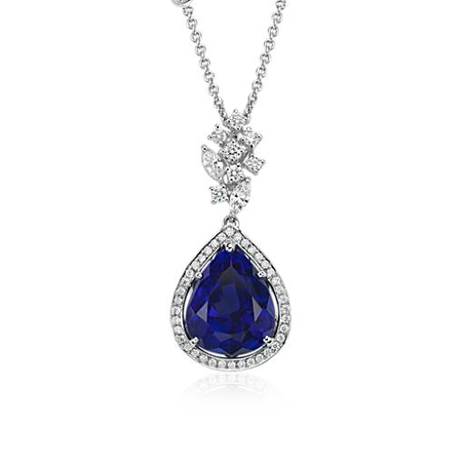 Pear-Shaped Tanzanite and Diamond Pendant in 18k White Gold (12.11 ct centre)