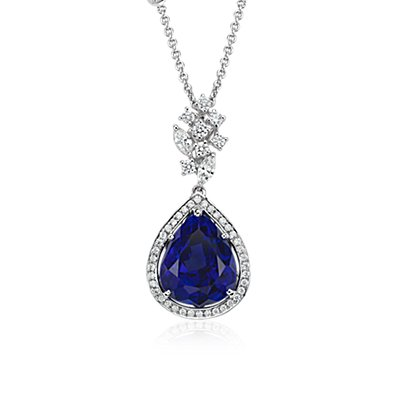 Pear-Shaped Tanzanite and Diamond Pendant in 18k White Gold (12.11 ct center)