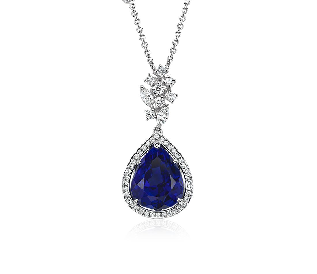 Tanzanite Necklace Tanzanite: Pear-Shaped Tanzanite And Diamond Pendant In 18k White