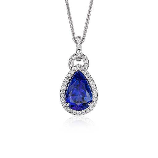 Pear Shape Tanzanite and Diamond Loop Pendant in 18k White Gold (6.26 ct. center)
