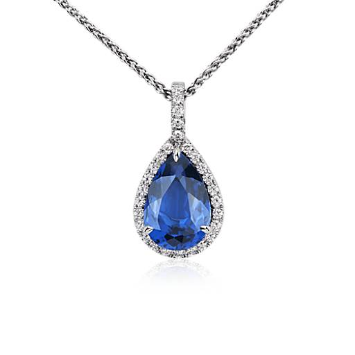 Pear-Shaped Tanzanite and Diamond Pendant in 18k White Gold (5 ct. center)