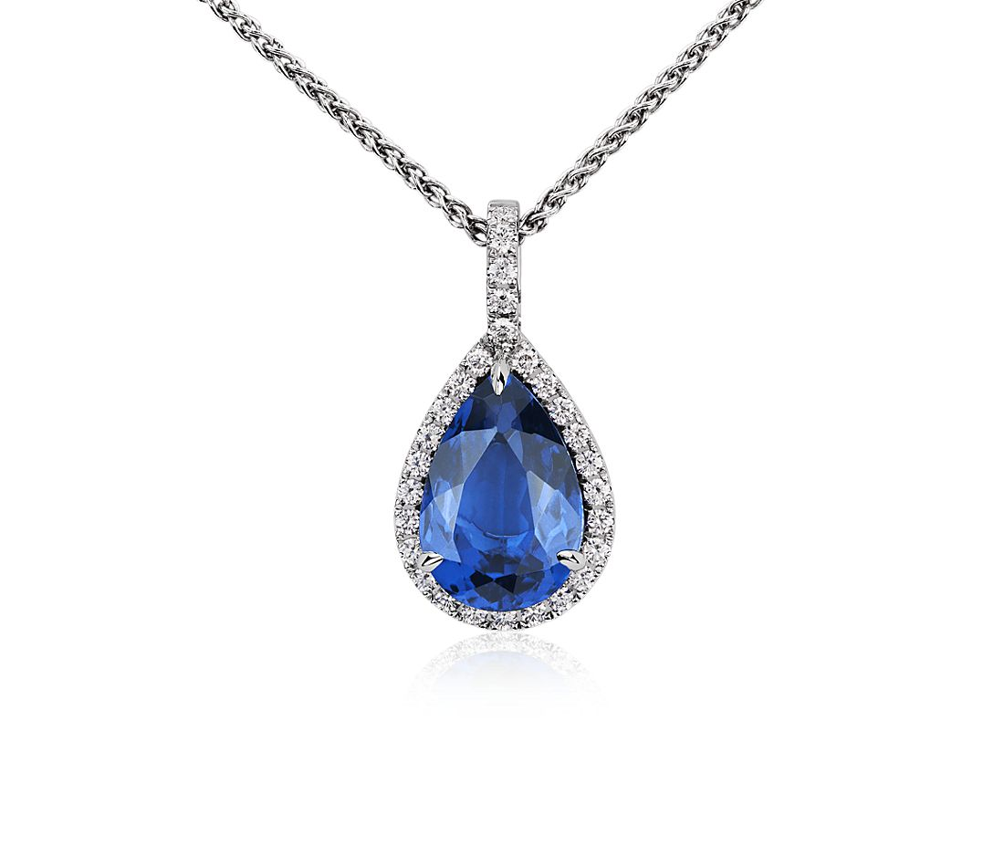 Pear-Shaped Tanzanite and Diamond Pendant in 18k White Gold (5 ct. centre)