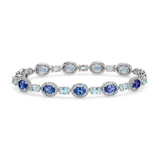 Tanzanite, Aquamarine and Diamond Halo Bracelet in 14k White Gold (7x5mm)