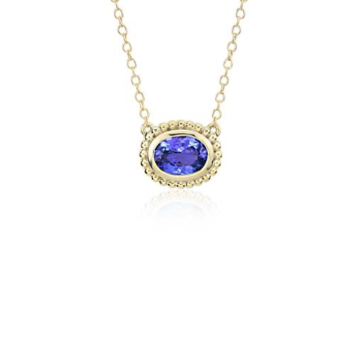 NOUVEAU Collier serti tanzanite en or jaune 14 carats (8 x 6 mm)