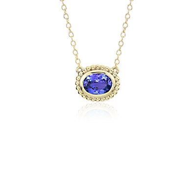Collier serti tanzanite en or jaune 14 carats (8 x 6 mm)