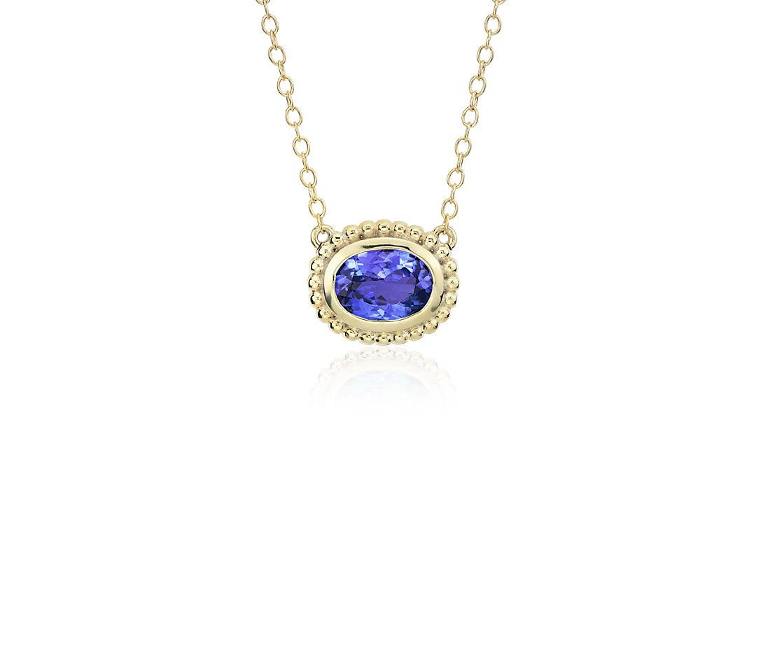 Tanzanite Necklace Tanzanite: Tanzanite Bezel Necklace 14k Yellow Gold (8x6mm)