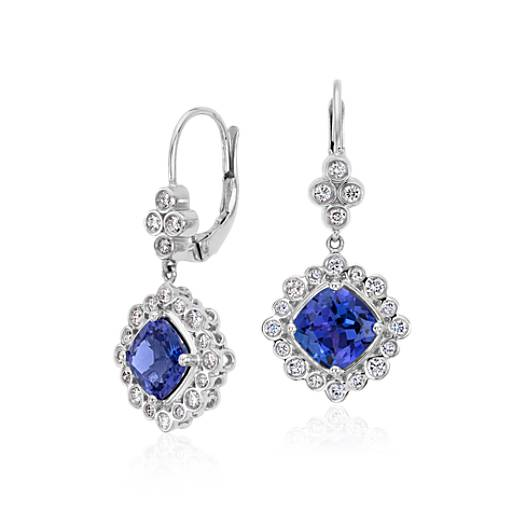 Tanzanite and Diamond Earrings in 18k White Gold (7x7mm)
