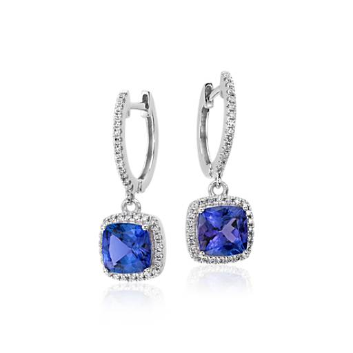 NEW Cushion Tanzanite and Diamond Earrings in 14k White Gold (6x6mm)