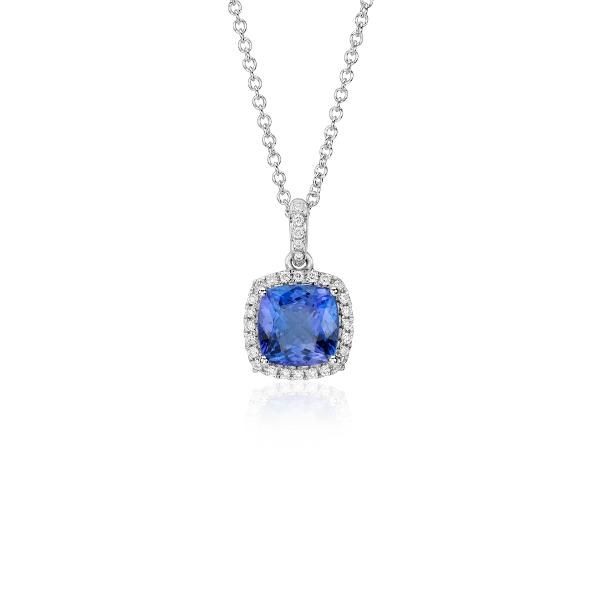 Colgante con halo torcido de diamantes y tanzanita de talla cojín en oro blanco de 14 k (7mm x7mm)