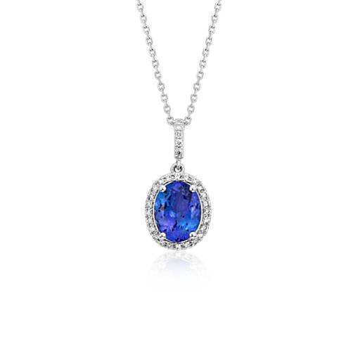 Pendentif halo en diamants et tanzanite en or blanc 14 carats (9 x 7 mm)
