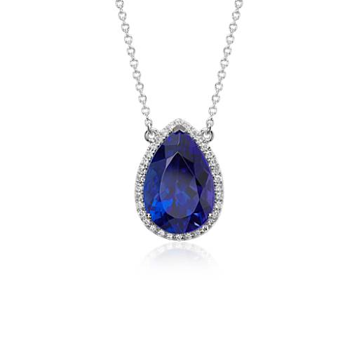 Pear Shape Tanzanite and Diamond Halo Floating Pendant in 18k White Gold (9.09 ct center)