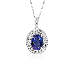 Pendentif tanzanite ovale et son double halo de diamants en or blanc 18 carats (4,78 ct au centre)