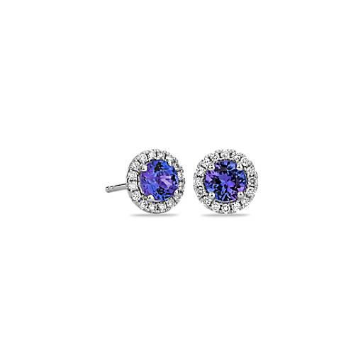 Tanzanite and Micropave Diamond Earrings in 14k White Gold (5mm)