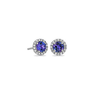 Puces d'oreilles en diamants sertis micro-pavé et tanzanite en or blanc 14 carats (5 mm)