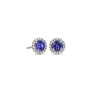 Tanzanite and Micropavé Diamond Stud Earrings in 14k White Gold (5mm)
