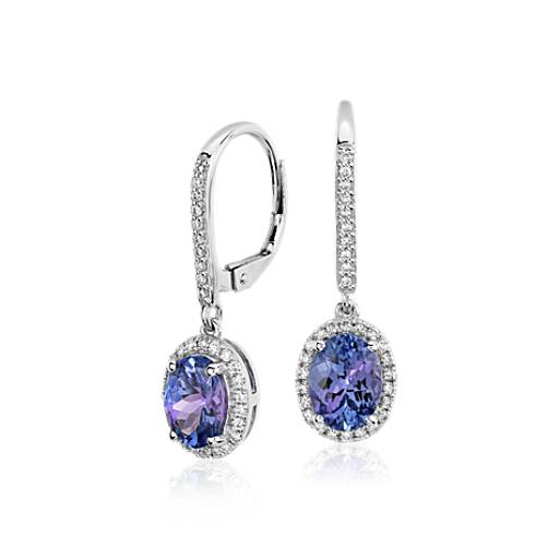NEW Tanzanite and Diamond Halo Drop Earrings in 14k White Gold (8x6mm)