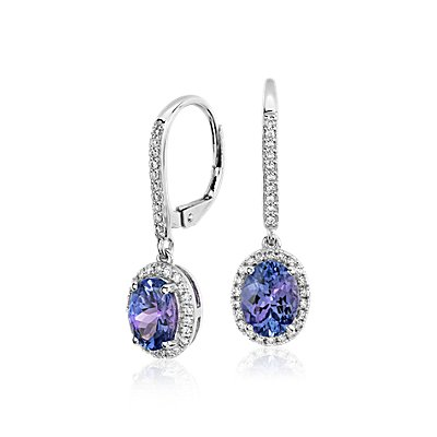 Pendants d'oreilles halo diamant et tanzanite en or blanc 14 carats (8 x 6 mm)