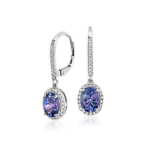 Tanzanite and Diamond Halo Drop Earrings in 14k White Gold (8x6mm)
