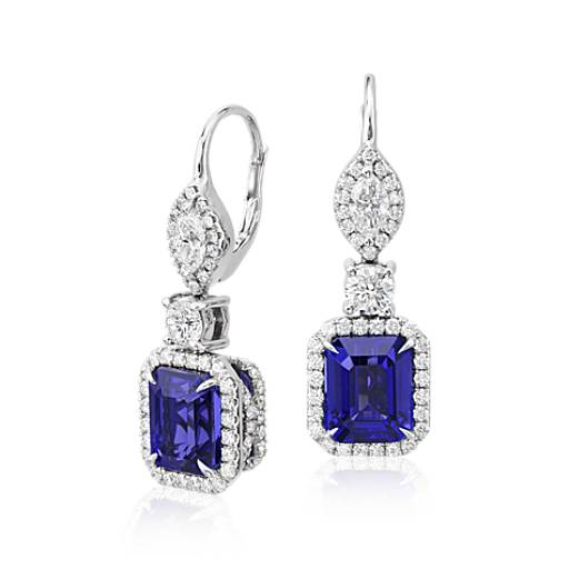 NEW Tanzanite and Diamond Halo Drop Earrings in 18k White Gold (9.17 ct. tw. centers)