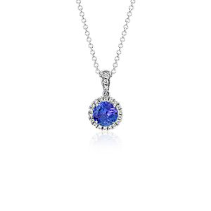 Tanzanite and Micropavé Diamond Pendant in 14k White Gold (6mm)
