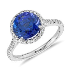 Tanzanite and Diamond Halo Ring in 18k White Gold (2.63 ct.)