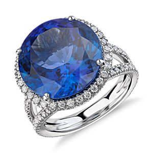 Tanzanite and Diamond Halo Split Shank Ring in 18k White Gold (10.88ct centre) (14.2mm)