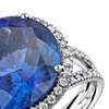 Tanzanite and Diamond Halo Split Shank Ring in 18k White Gold (10.88ct center) (14.2mm)