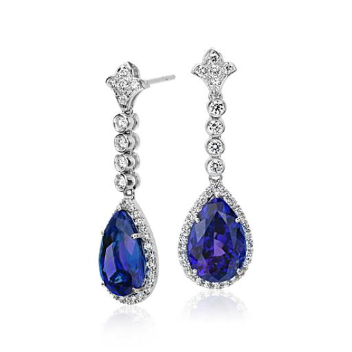 NEW Tanzanite and Diamond Drop Earrings in 18k White Gold (12.49 cts)