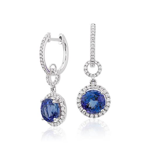 Tanzanite and Diamond Halo Drop Earrings in 18k White Gold (8mm)
