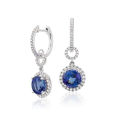 Pendants d'oreilles halo diamant et tanzanite en or blanc 18 carats (8 mm)