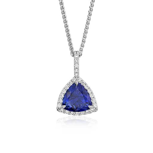 Trillion-Cut Tanzanite Diamond Halo Pendant in 18k White Gold (5.27 ct.)