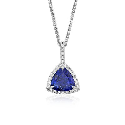 Pendentif halo de diamants taille trillion et tanzanite en or blanc 18 carats (4,83 carats)