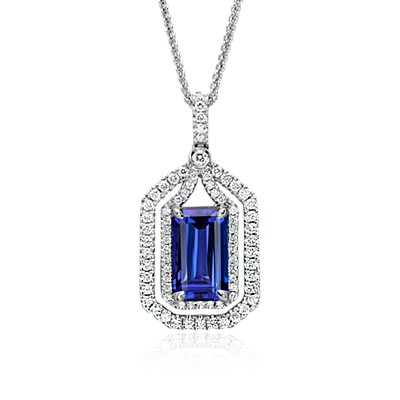 NEW Tanzanite and Diamond Halo Pendant in 18k White Gold (4.74 ct. center)