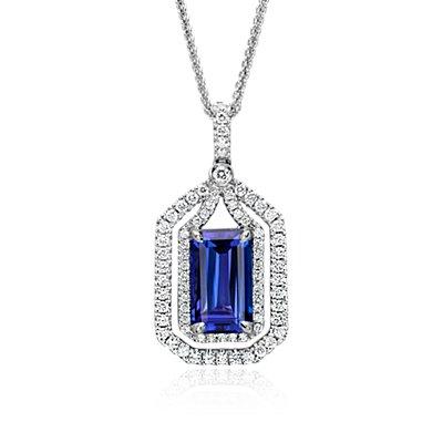 NOUVEAU Pendentif halo en diamants et tanzanite en or blanc 18carats (4,74ct au centre)
