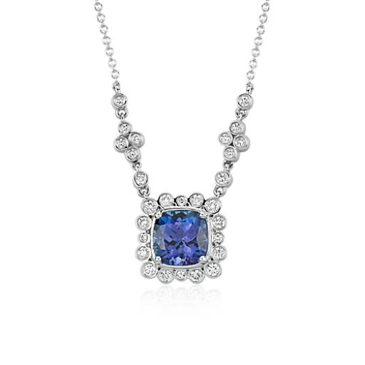 Cushion Cut Tanzanite and Diamond Necklace in 18K White Gold (9x9mm)