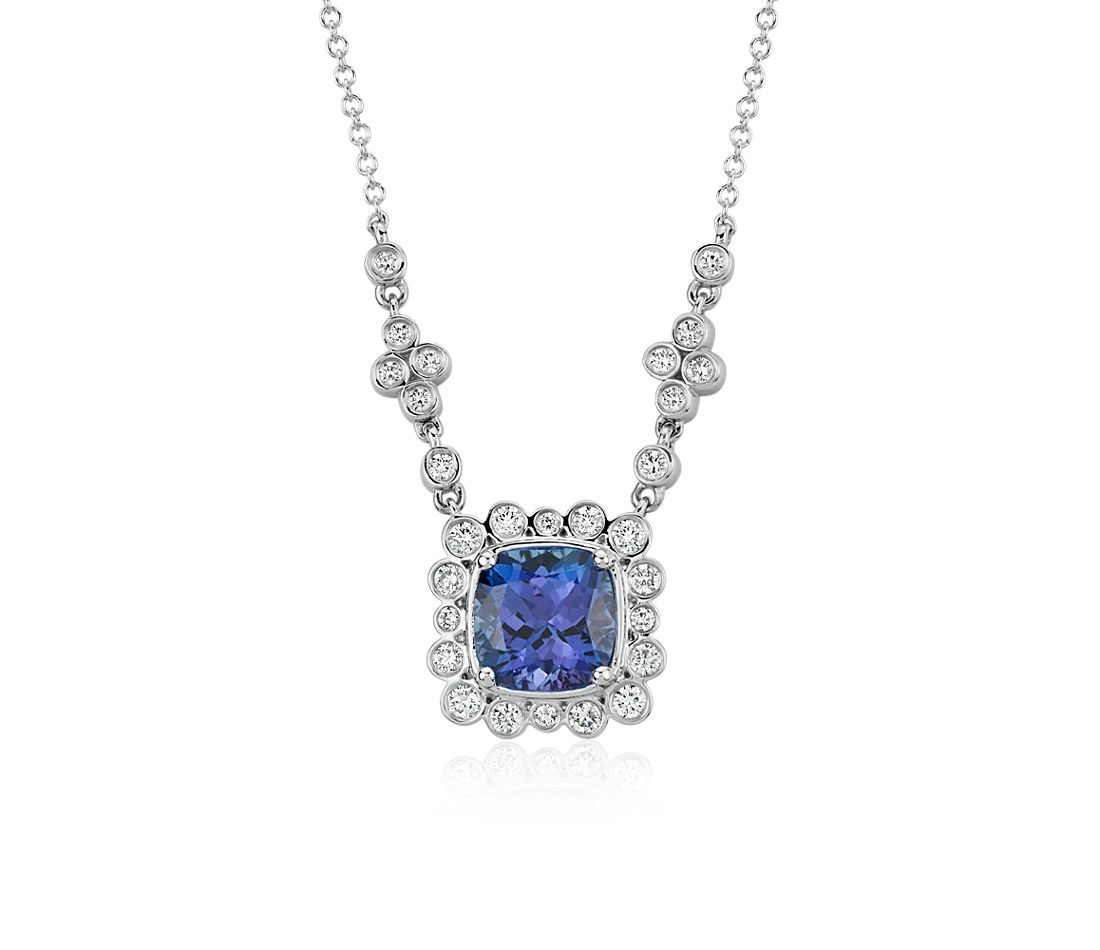 Tanzanite Necklace White Gold Necklace in 18k White Gold