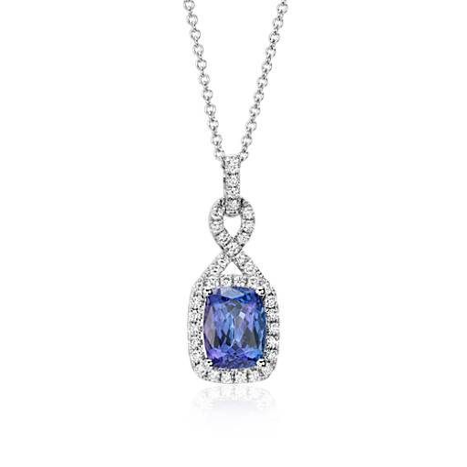 Tanzanite and Diamond Infinity Pendant in 14k White Gold (9x7mm)
