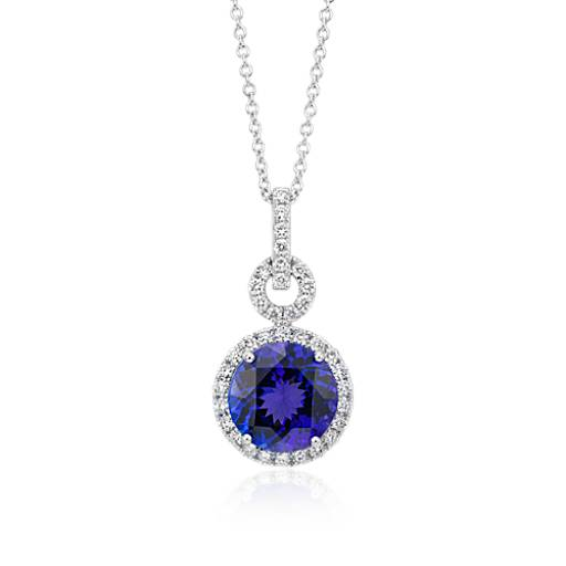 Tanzanite and Diamond Halo Pendant in 18k White Gold (10mm)