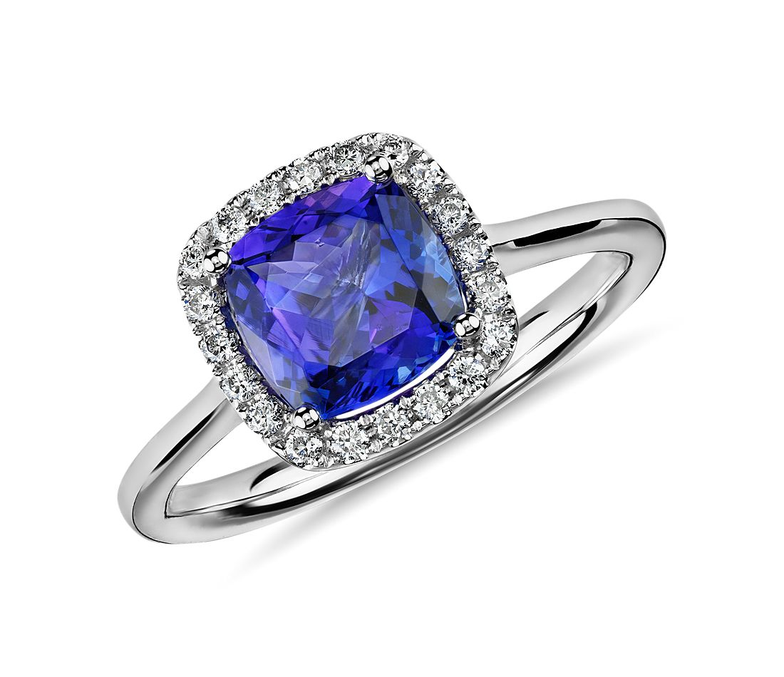 tanzanite cushion and halo ring in 14k white gold