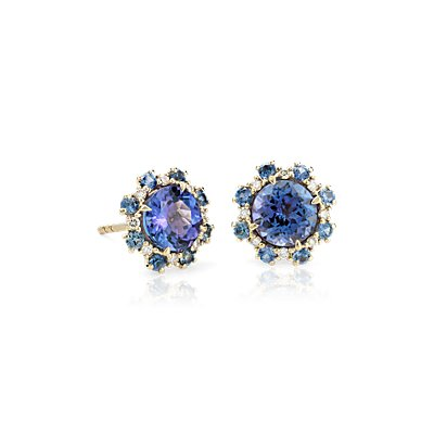 NOUVEAU Tanzanite Stud Earrings with Sapphire and Diamond Halos en or jaune 14 carats (6 mm)