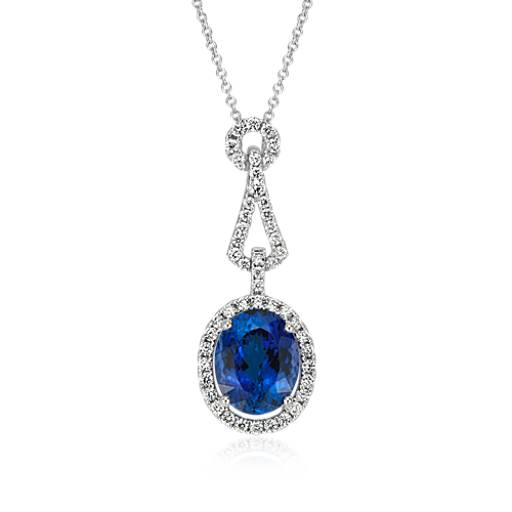 Oval Tanzanite Diamond Halo Pendant in 18k White Gold (4.44 ct. center)