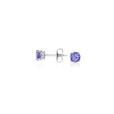 Boucles d'oreilles tanzanite en or blanc 18 carats (5 mm)