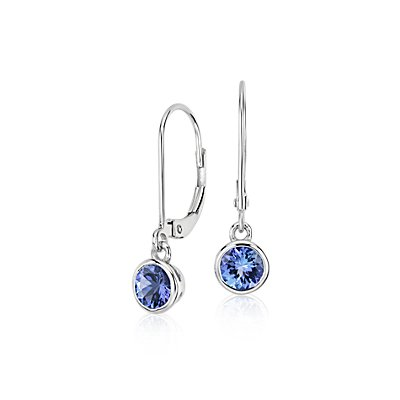 Pendants d'oreilles serties clos tanzanite en or blanc 14 carats (5 mm)