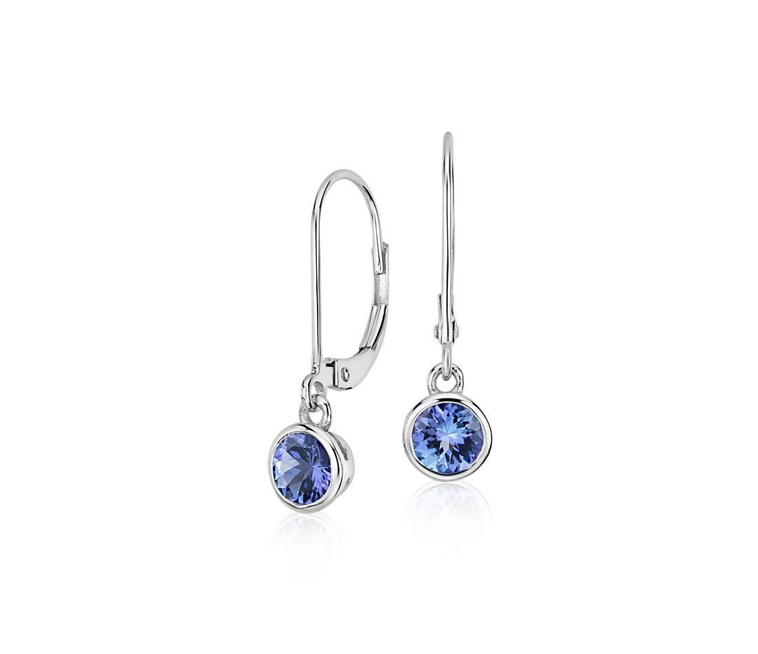 Tanzanite Bezel Drop Earrings in 14k White Gold (5mm)