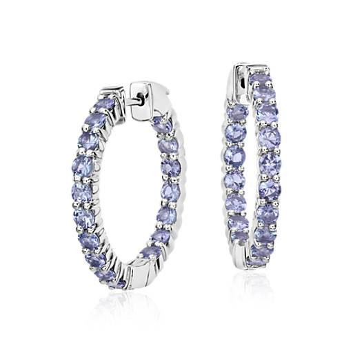 Tanzanite Hoop Earrings in Sterling Silver (3mm)