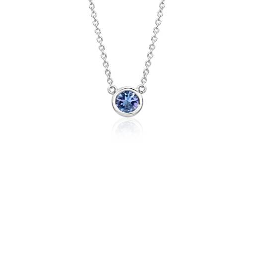 Collier serti tanzanite en or blanc 14 carats (5 mm)