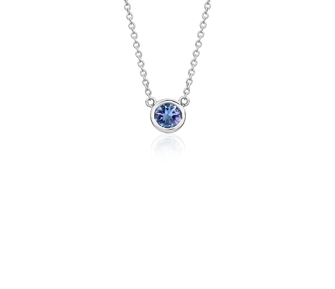 Tanzanite Necklace Tanzanite: Tanzanite Bezel Necklace In 14k White Gold (5mm)