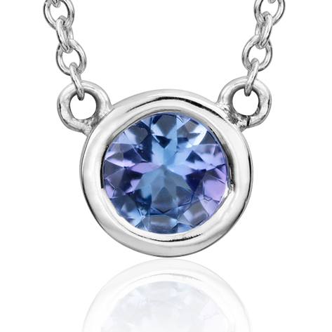 Tanzanite Bezel Necklace in 14k White Gold