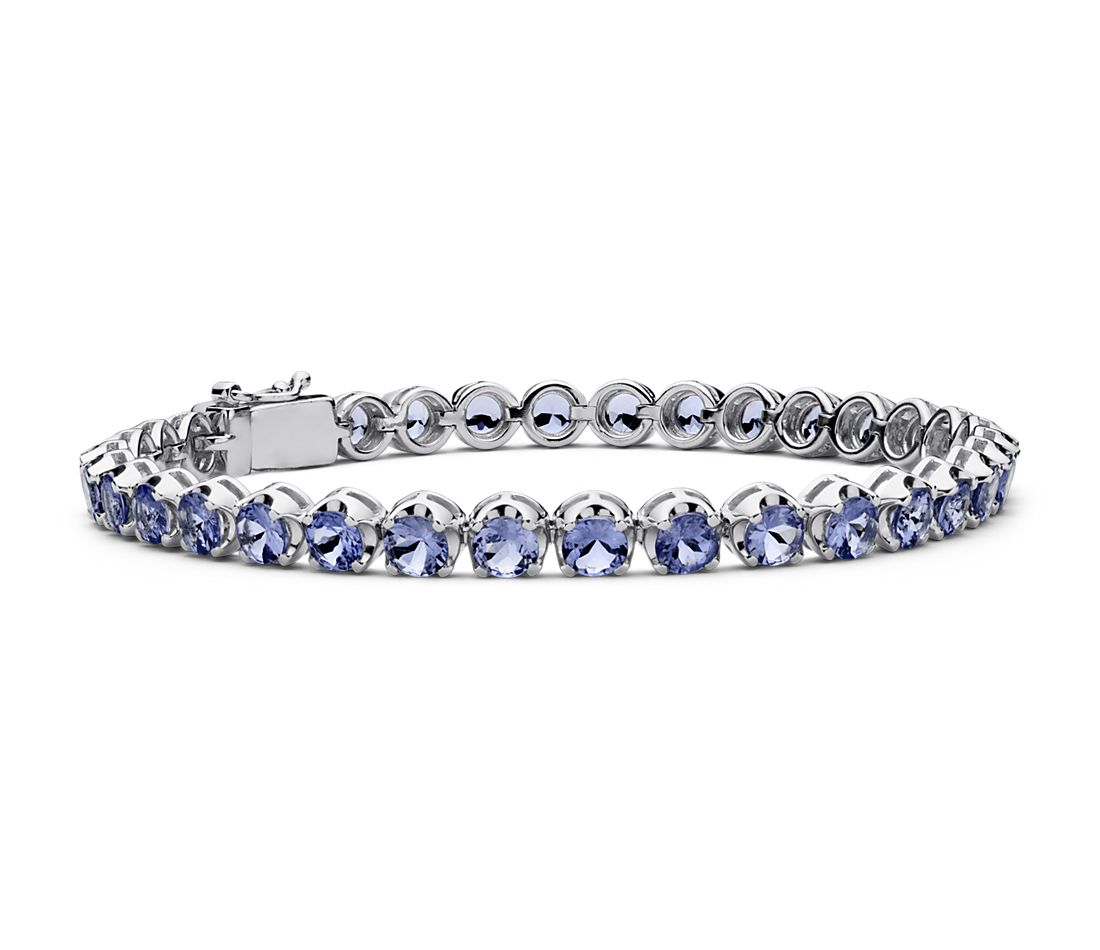 Bracelet Tanzanite en argent sterling (4 mm)